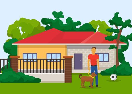 One man with domestic animal dog standing on lawn outside in front of private house with fence vector illustration. Owner man holds pedigreed trained canine dog on pets leash. Illusztráció