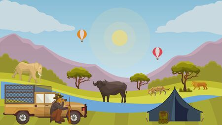 Hunting safari vector illustration concept. Hunter man near car with rifle, backpack, tent looking through binoculars. African wild nature and animals elephant, lion, leopard and buffalo.