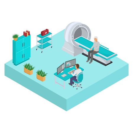Magnetic resonance imaging mri office room in hospital clinic vector illustration isolated isometric. Doctor man sitting at computer and elderly male patient. Medicine, health care and treatment.