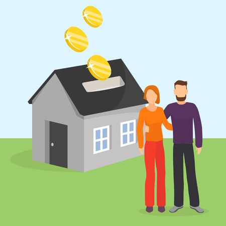 Couple saves money or pays credit loan for house vector illustration. Family man, woman stand in background of home moneybox. Investment in property, finance for buying house estate concept.