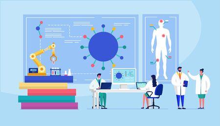 Laboratorio coronavirus vacuna antiviral biología investigación antivirus médicos ilustración vectorial. Científicos en laboratorio, investigadores químicos con equipo de laboratorio. Ilustración de vector