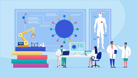Laboratory coronavirus vaccine antiviral biology research antivirus doctors vector illustration. Scientists in laboratory, chemical researchers with lab equipment.