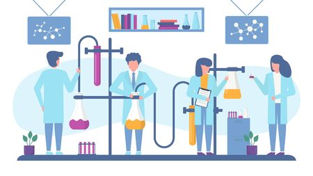 Chemical laboratory antivirus vaccine search vector illustration. Working scientists chemists team doing pharmaceutical researches banner. People in lab with glass flasks, test tubes, liquids.