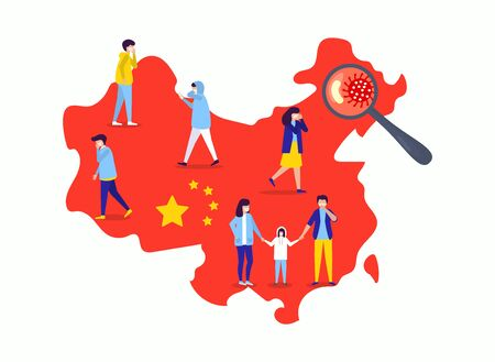 china wuhan epidemic disease vector illustration. Virus on China map, flu people in mask unhealthy, medical help needs. Bad death infection, medicine epidemy chinese vaccine. Ilustração