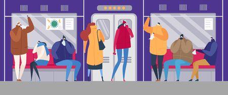 People on street flu season epidemic virus disease vector illustration. Ill family treating sick flu colds people in mask on street, in public transport. Illustration