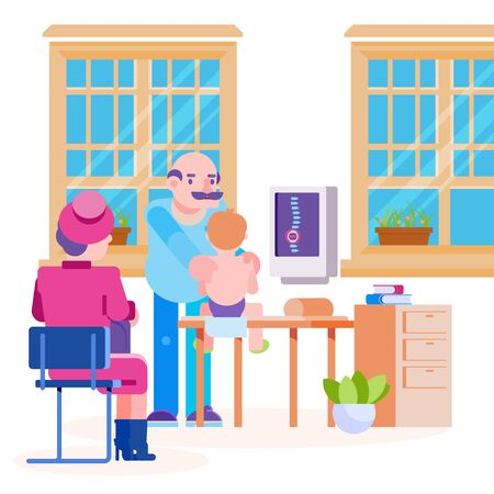 Doctor pediatrician osteopath and little child vector illustration. Boy with mother visiting doctors office. Room interior, massage table, computer with spine image on screen. Medicine and healthcare.