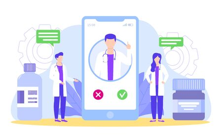 Doctors discuss with curator by smartphone diagnosis and medical treatment vector illustration. Doctors team meeting. Mentor consult, gives advice and guidance to colleagues remotely online.