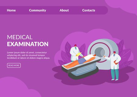 MRI x-ray tomograph magnetic-resonance tomography medical examination vector illustration website. People doctors and patient scanning. Internet page, banner landing. Healthcare, diagnostic treatment. Ilustración de vector