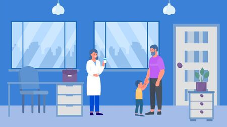 Father and kid son boy at pharmacy woman doctors childrens doctor podiatrist office vector illustration. Medical consultation and pills. Pharmaceutica healthcare pharmacist center specialist