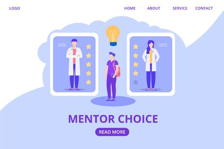 Mentor choosing for trainee intern doctor according to rating, reviews, score vector illustration website . Medical learning, education, healthcare and treatment. Internet page banner.