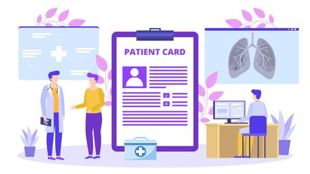 Patient with medical card talk with doctor about lungs x-ray vector illustration banner. Healthcare and people disease treatment. Clinic or hospital, computer desk, first aid kit. Illustration