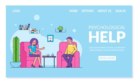 Psychological help, patient visiting doctor psychotherapist vector illustration website internet page. Sad man and woman psychologist in office room interior. Mental healthcare, medical assistance.  イラスト・ベクター素材