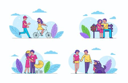 Happy couple woman and man family life in love vector illustration isolated collection set. People pair go on dates, ride bike, walk with pram, child and dog pet and sit on bench.  イラスト・ベクター素材
