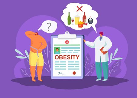 Obesity and diabetes, doctor prohibits unhealthy food products to fat patient vector illustration. High sugar on glucometer due to fries, soda, wine. Physician with medical report. Man measures waist.