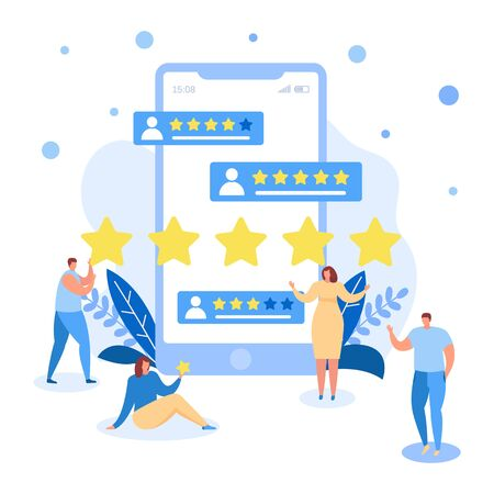 Rating and score vector illustration isolated flat, people customers with feedbacks, reviews, comments. Tiny men, woman registered online with stars. Huge smartphone screen. 向量圖像