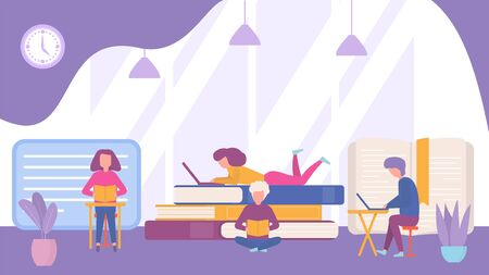 Readers with books in library reading room vector illustration banner concept. Different people study textbooks or fiction. Male student sitting with laptop at table, girl lying on pile.