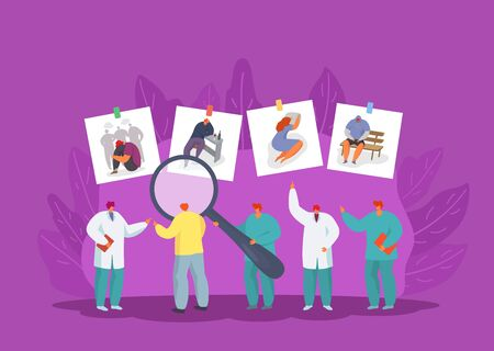 Psychologists group search people problems for medical treatment, psychotherapeutic help vector illustration. Doctors team with giant magnifier examining patients. Bullying, alcoholism, loneliness.