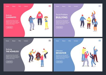 Social problem, Bullying vector illustration websites. Aggressors and victims of bullying internet pages people. Pupils, teenagers, students mock and tease different people classmates, homeless social problem. Illustration