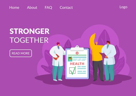 Fight against cancer, win over oncology vector illustration website. Stronger together concept. Happy recovered patient. Doctors with medical report, diagnosis is healthy. Web page landing banner. 일러스트