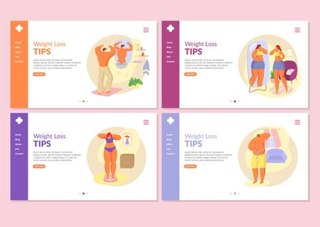 Weight loss vector illustration, grow thin tips website internet page banners set. Fat overweight people man, woman girl weighed on scales, measure waist, look in bathroom mirror.