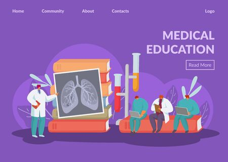 Medical education training for doctors vector illustration website internet page banner. Lecturer teaches people students interns of lung disease. Huge textbooks, test tubes.