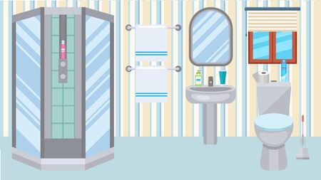 Bathroom toilet interior at home vector illustration. Plumbing shower, wc, sink. Accessories for body wash bathing, cleanliness and hygiene. Mirror, towels, soap, shampoo, gel, toilet paper