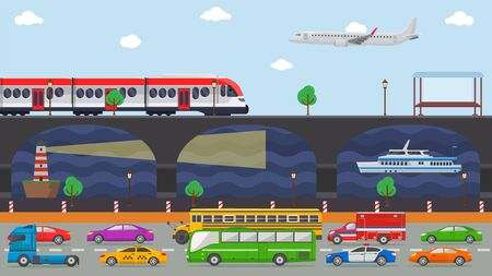 City transport concept vector illustration. Urban road embankment street transport vehicles autos cars, bus, truck, taxi traffic. Railway, train, aircraft, ship, lighthouse, navigation.