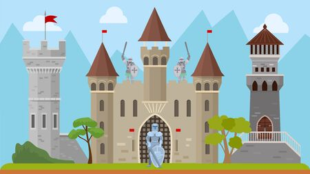 Knights and old medieval castle vector illustration. Ancient history architecture fortress with towers. Knights characters men warriors in armor, with weapons swords and shields.