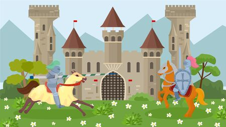 Battle of medieval knights on horseback vector illustration. Knights in armor, with shields and weapons spear and sword. Ancient old knights castle and mountains on background. Illusztráció