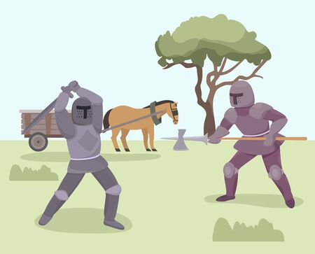 Battle of knights medieval warriors vector illustration. Knights fighting with armor, helmets, sword, halberd. Horse harnessed to cart in background. Knights chivalry historical characters.