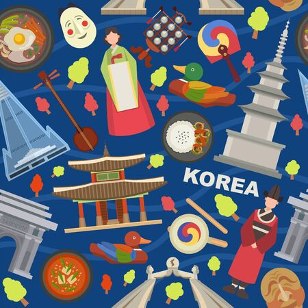 Korea landmarks and symbols vector illustration seamless pattern. Tourists trip invitation and advertising to country of Korea. Korean people in traditional clothes, architecture, food, mask, fan.