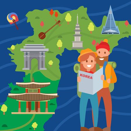 Couple of travelers on background of Korea map vector illustration. Smiling young man and woman tourists in Korea. Visiting Korea landmarks symbols architecture culture advertising tourism invitation.
