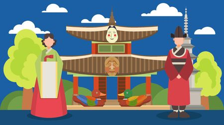 Tourism travel invitation to visit Korea vector illustration. Couple of people man woman in traditional Korean costumes. Landmarks attractions symbols, Korean architecture, palace ducks tower masks.
