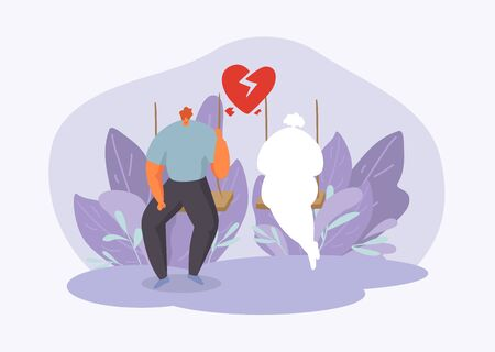 Man in melancholy with broken heart in two halves thinks and misses, yearning for his ex wife or girlfriend vector illustration. Lonely, sad, unhappy man sitting on swing. Valentine day