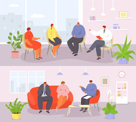 Psychotherapy people session group and couple with psychologist vector illustration banners set. Psychotherapist doctor consulting for problems patients man, woman, families in office room interior.