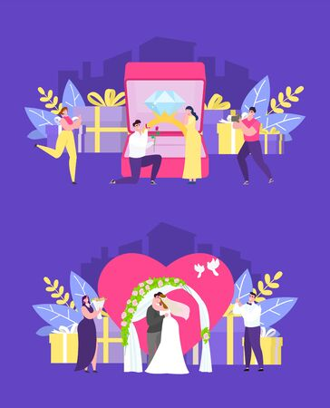 Wedding ceremony, marriage proposal, bride and groom happy loving couple vector illustration concept set. Man and woman, heart, engagement ring, wedding arch and gifts. Photographer, friends.