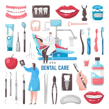 Dental care vector illustration. Teeth, toothpaste and brush, dentist, hygiene isolated set. Medical treatment dental instruments, patient chair, implants, braces and smiling mouth. Vectores