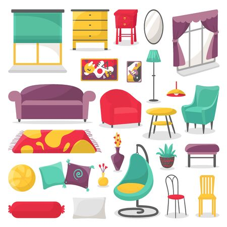 Living room furniture, home interior decor vector illustration isolated set collection. Windows with curtains, armchair, pillows, carpet and lamps. Dresser, mirror, plants, flowers in vase.