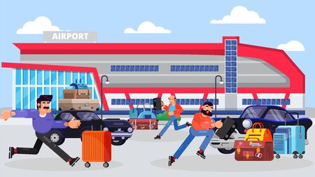 Running businessmen in front of airport terminal building facade vector illustration. Business people with briefcases after air trip rushing to work among luggage and cars.