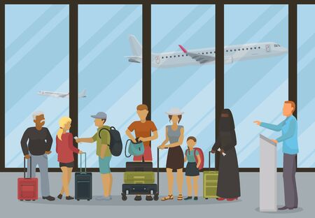 Airport terminal departure or check-inn hall vector illustration. Different people with tickets boarding passes and luggage waiting for airports opening boarding gate registration counter.