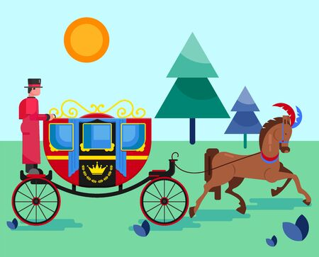 Horse old retro carriage with coachman in nature park vector illustration flat style. Festive decorated horse animal and royal coach with crown sign. Excursion, walk, entertainment, transportation. Illusztráció