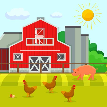Chickens and pig walking on yard of farmstead buildings vector illustration cartoon flat style. Animal poultry breeding agricultural countryside farm. Rural nature landscape. Çizim