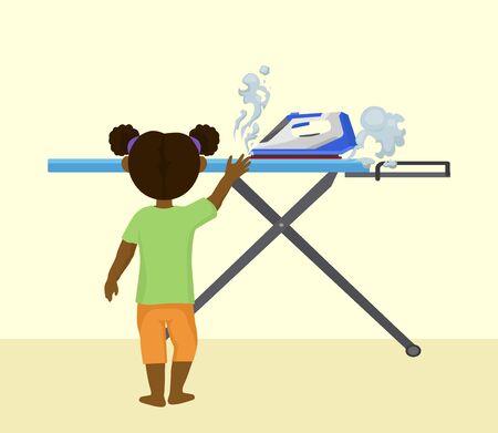 Risque d'accident avec illustration vectorielle enfant et fer chaud. Une petite fille seule dans la chambre à la maison atteint le fer à repasser à la vapeur. Brûlures et incendie huzard. Manipulation imprudente des appareils électriques. Vecteurs