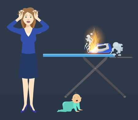 Accident risk of fire vector illustration flat style. Mother and little baby at home flat near flame and steaming iron. Fire hazard. Careless handling of electrical appliances.