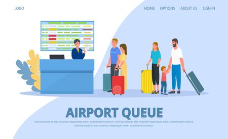 Airport, queue to check in registration desk, people passengers vector illustration website internet banner page. Happy family with child, couple with luggage for flight. Girl staff at counter. Reklamní fotografie - 139893099