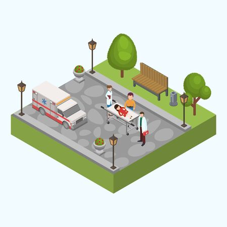Child sick injured girl lies on stretcher in city park vector illustration. Nearby are father, doctor with medications in first aid kit, nurse assistant. Ambulance car for transportation to hospital. Çizim