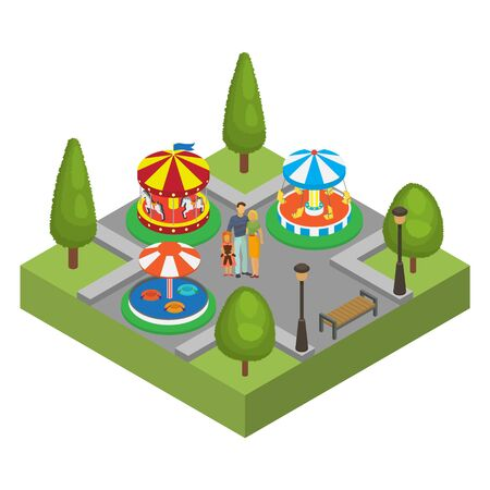 Amusement park isometric vector illustration isolated. Family man, woman and little daughter amusement park visitors. Carousels, water attraction. Entertainment fun for children. Illustration