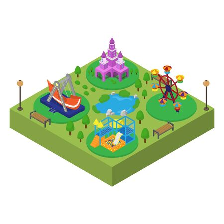 Amusement theme family outdoor park isometric vector illustration isolated. Princess castle, swing, slide, ferris wheel. Amusement entertainment fun area zone for kids children.