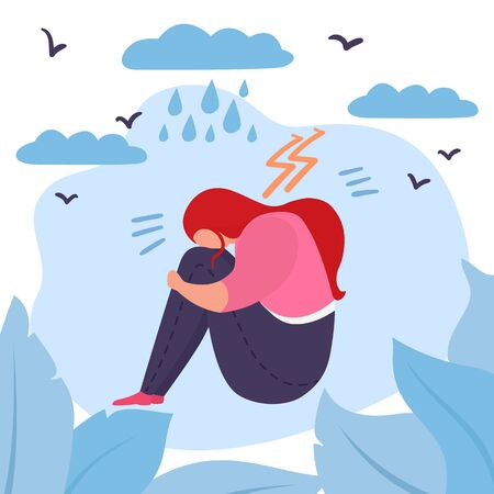 Depressed woman vector illustration. Sad stressed lonely unhappy young girl or teenager sitting with her face buried in knees. Bad weather, thunder, clouds, lightning and rain. Illustration
