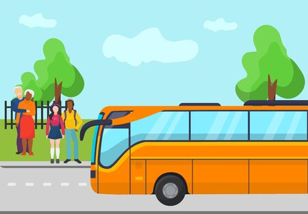 Bus goes on road arrives to open air stop and standing people vector illustration flat. Elderly and young people man woman passengers waiting for yellow bus. Public transportation. Ilustração